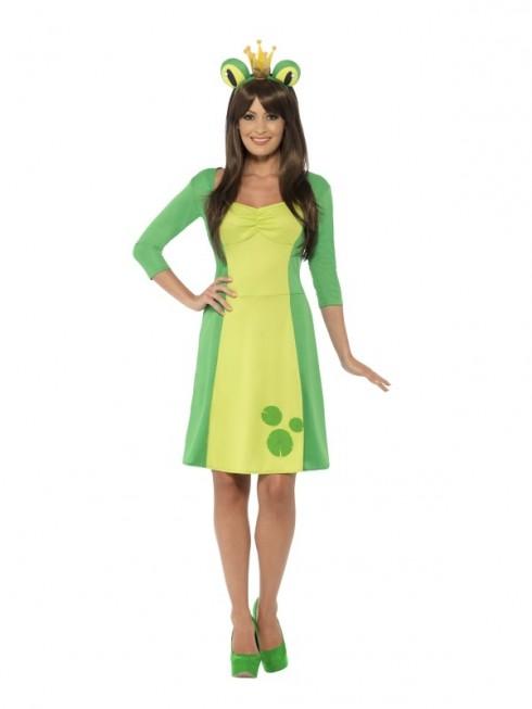 Ladies Frog Costume Fairytale Book Week Animal Green Fancy Dress Outfit Dress Headpiece