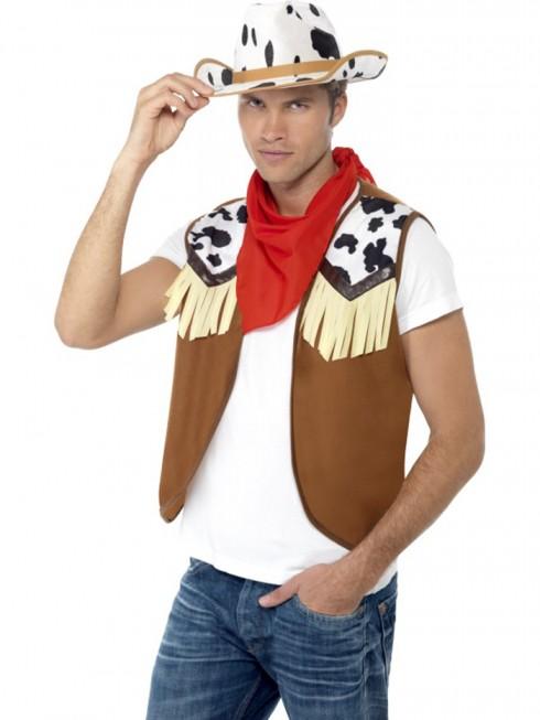 Mens Instant Wild West Costume Kit Fancy Dress Western Cowboy Hat