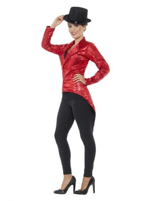 Red Sequin Tailcoat Jacket Ladies