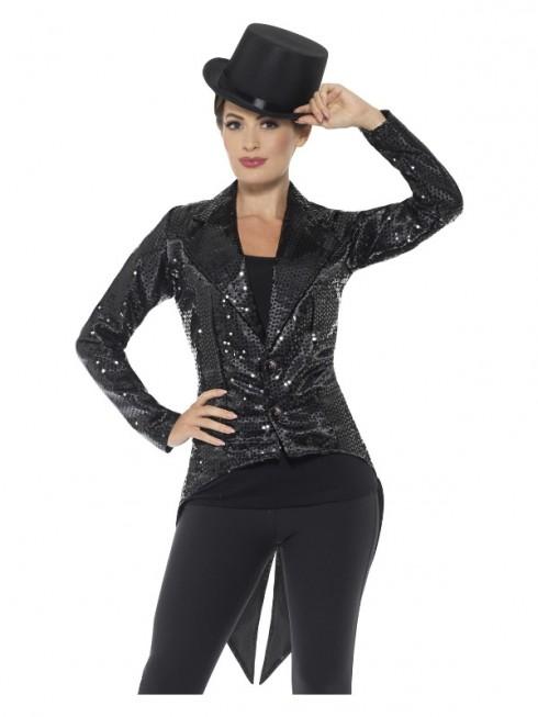 Black Sequin Tailcoat Jacket Ladies