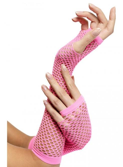 Fishnet Gloves, Long, Pink cs34876