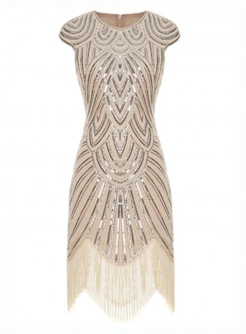 beige great gatsby dress lh1001_1