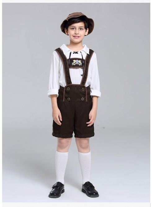 Bavarian Oktoberfest Lederhosen German Fancy Dress Up Boys Costume Kids Book Week