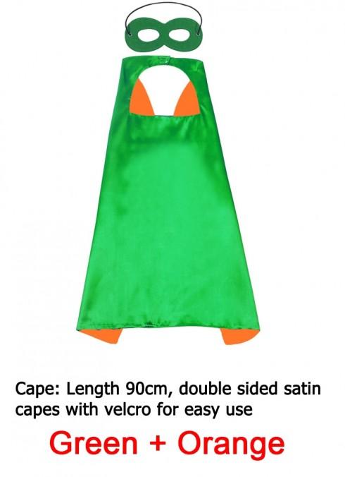 Green & Orange Kids Double sided Cape Mask Costume set tt1098-15