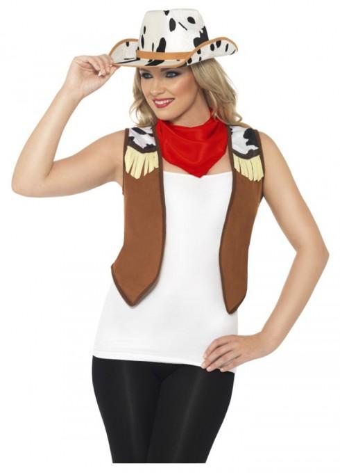 Womens Ladies Instant Wild West Costume Kit Fancy Dress Western Cow Girl Hat