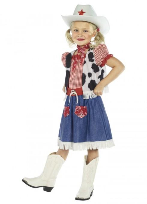 Kids Costume -Cowgirl Sweetie Kids Girls Childrens Western Wild West Cowboy Dress Costume + Hat