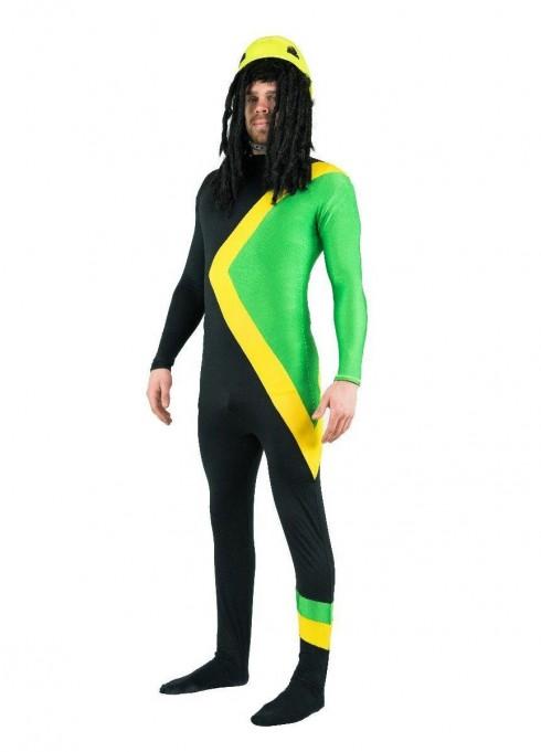 Men Jamaican Rasta Hero Costume Bobsleigh Bobsled Team Sports