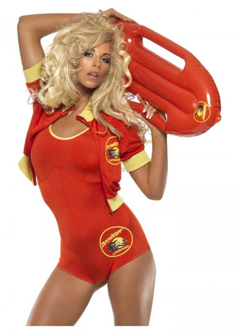 Sports Costumes - Licensed Ladies Baywatch Beach Lifeguard Uniform Smiffys Fancy Dress Costume Outfits with Float