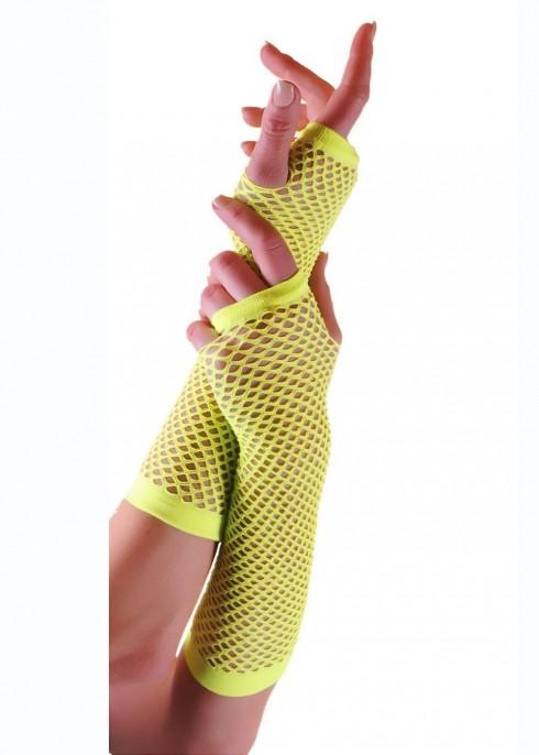 Yellow Fishnet Gloves Fingerless Elbow Length 70s 80s Women's Neon Party Dance