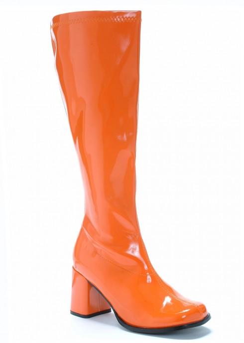 Ladies Go Go Knee High Wid fit Adult Women Boots Shoes Orange