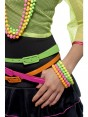 Beaded Bracelets Ladies Neon Assorted 1980s 80s Disco Fancy Dress Costume Accessory