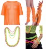 Orange String Vest Mash Top Net Neon Punk Rocker Fishnet Rockstar 80s 1980s Costume  Beaded Necklace Bracelet legwarmers gloves