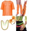 Orange String Vest Mash Top Net Set