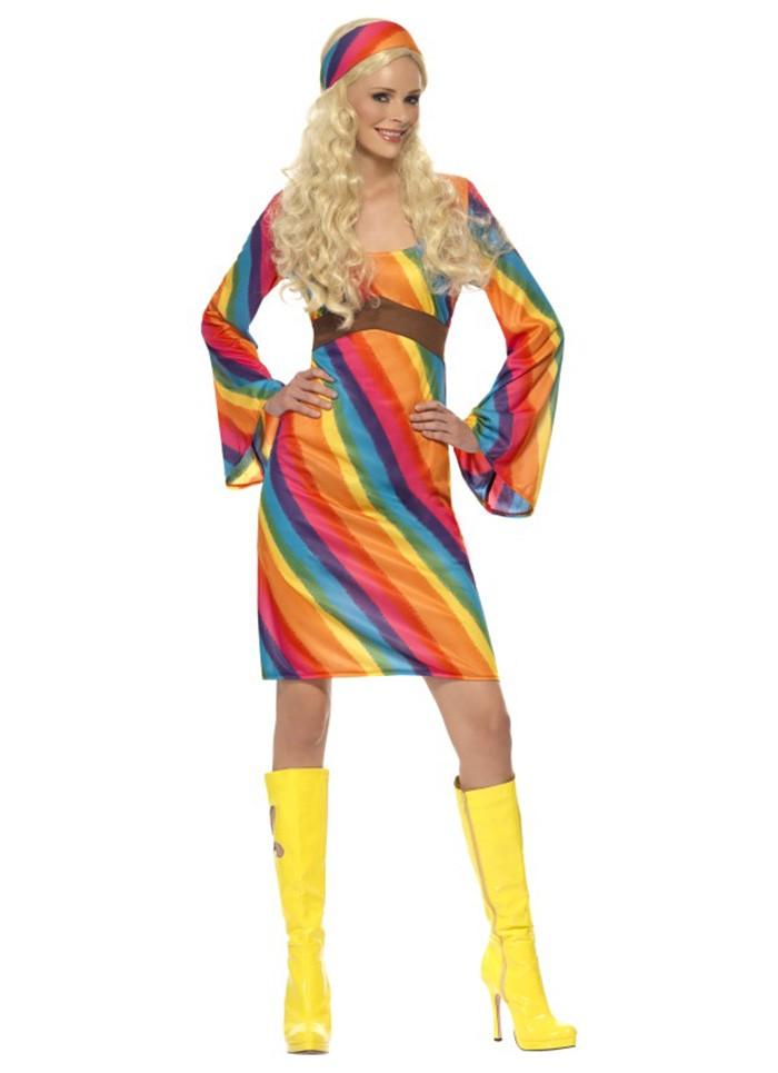 e67dc57eeb Ladies RAINBOW 60s 70s Retro Hippie Go Go Girl Disco Licensed Costume Fancy  Dress Hen Xmas Party