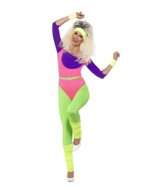 Ladies 80s Fitness Gym Retro Costume Adult Aerobics Workout Fancy Dress Outfit