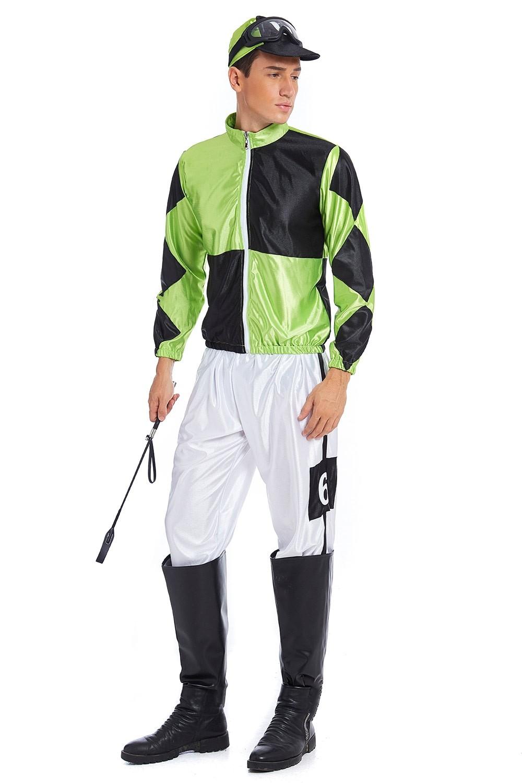 Green Black Jockey Horse Racing Rider Mens Uniform Fancy Dress Costume Outfit Hat Racing Costume Sports Costume Themes Costumes Au