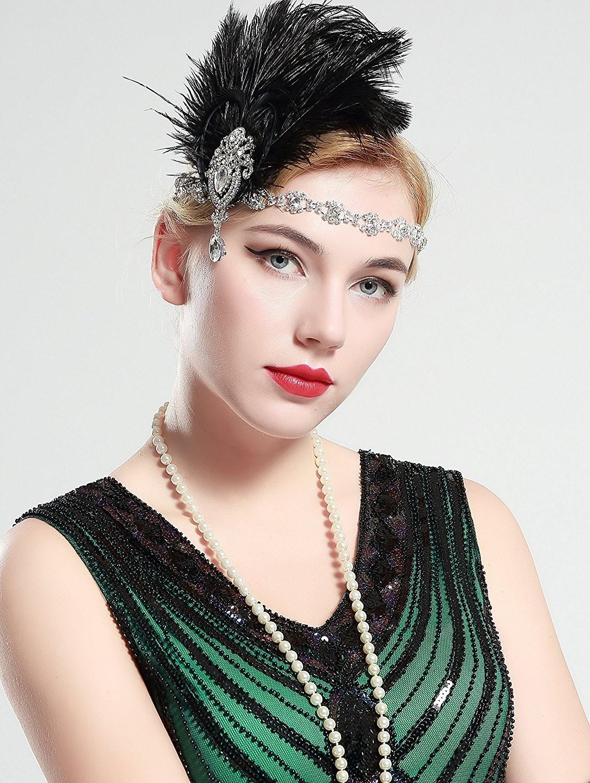 1920s Headband Black Feather Vintage Bridal Great Gatsby