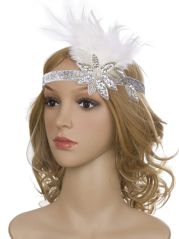 1920s Headband White Feather Vintage Bridal Great Gatsby