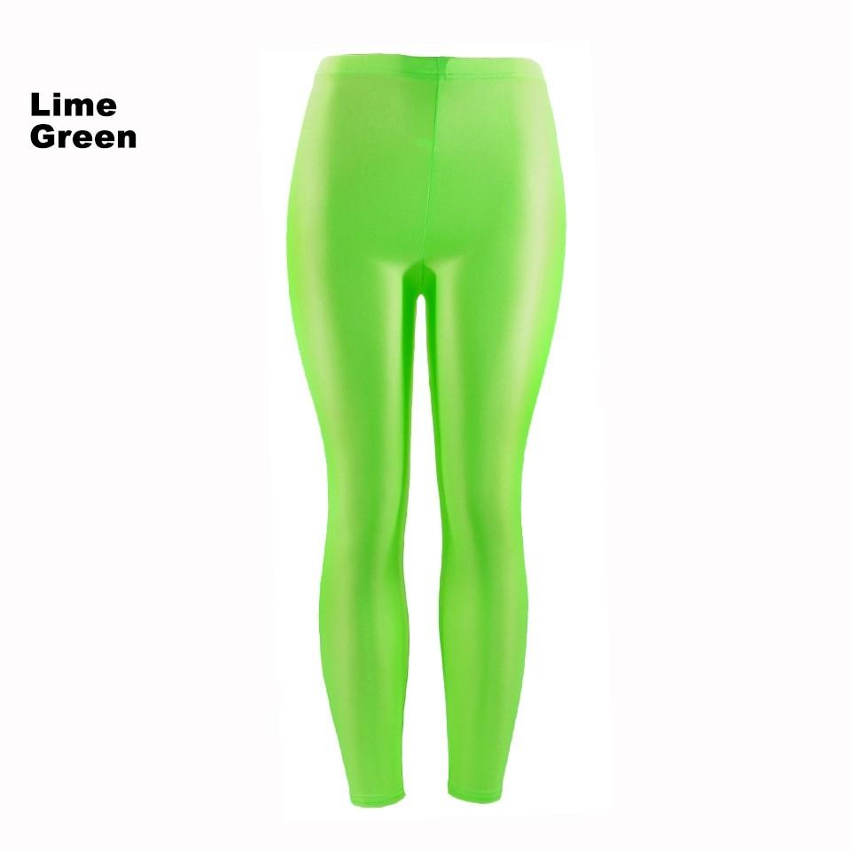 f5cc884c13e2d Lime Green 80s Shiny Neon Costume Leggings Stretch Fluro Metallic Pants Gym  Yoga Dance. Hover to zoom