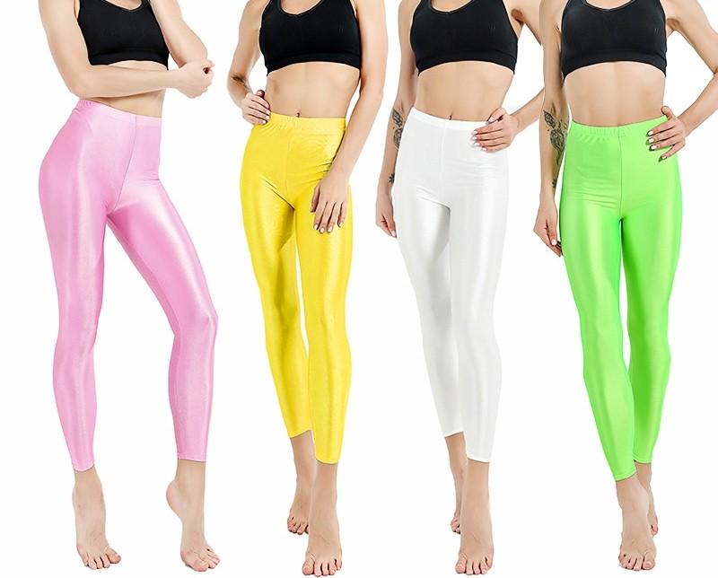 951dc2e93ffbb Lime Green 80s Shiny Neon Costume Leggings Stretch Fluro Metallic Pants Gym  Yoga Dance