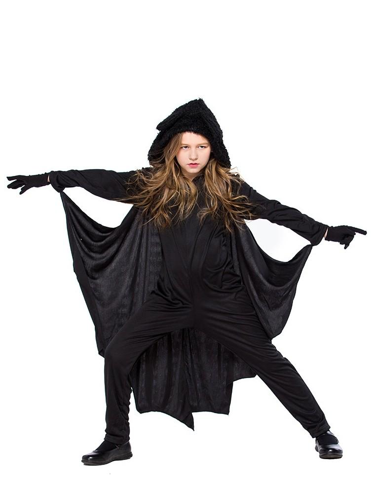 Black Women Kids Girls Jumpsuit Halloween Bat Cosplay Costume with Gloves
