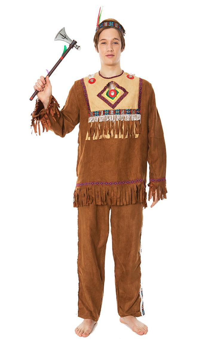 Ladies Noble Warrior Costume Native American Indian Wild West Womens Fancy Dress