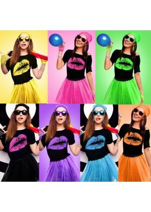 Ladies 80s Costume Accessories Set T-shirt Tutu Skirt