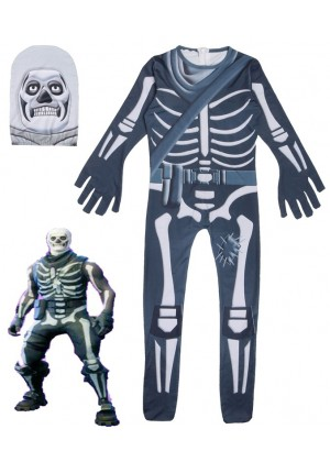 Kid Halloween Fortnite Costume Skull Trooper Cosplay Jumpsuit