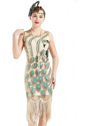 Beige 1920s flapper dress lx1052w