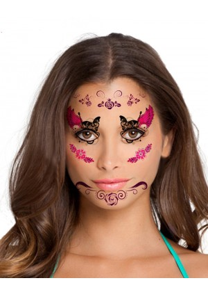 Ladies Halloween Day of the Dead Face Temporary Tattoo