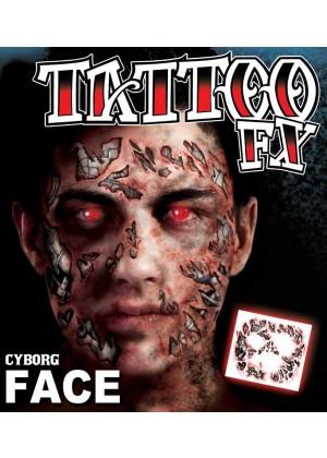 Men's Halloween Cyborg Scary Face Temporary Tattoo