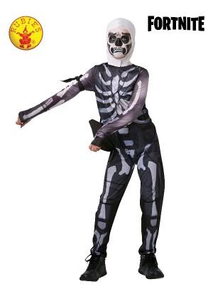 Boys Tween Fortnite Skull Trooper Skeleton Computer Gaming Fancy Dress Costume