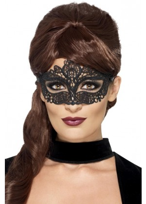 Embroidered Black Lace Filigree Eyemask Masquerade Halloween Accessory