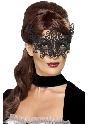 Embroidered Black Lace Filigree Eyemask Masquerade Halloween