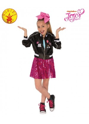 Jojo Siwa Bomber Jacket Girls Fancy Dress Celebrity Music Diva Childs Idol Kid Outfit Costumes