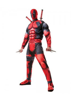 Marvel Adults Deluxe DEADPOOL Muscle Costume Licensed Rubies