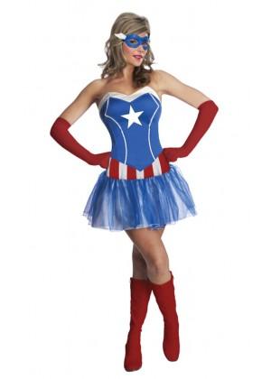 Ladies American Captain Woman Super Hero Fancy Dress Halloween Superhero Licensed Costume
