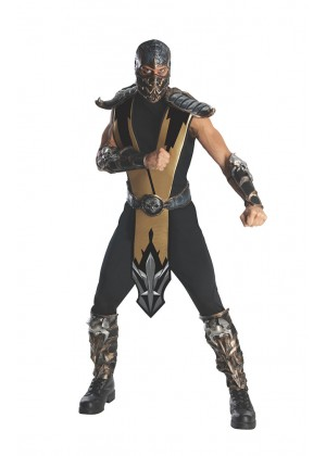 Mens Deluxe Mortal Kombat Scorpion Fancy Ninja Halloween Karate Costume Outfit