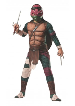 Movie/TV/Cartoon Costumes - TV Show TMNT Teenage Mutant Ninja Turtles Costume Licensed Rubie's Raphael Red