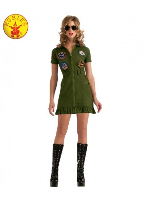 Sexy Top Gun 1980s 80s Womens Military Ladies Costume Green Dress Licensed Aviator Pilot