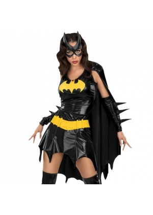 Womens Batgirl Ladies Super Hero Justice League Fancy Dress Costume Outfit