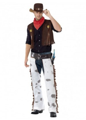 Cowboy Wild West Costume Mens Sheriff Gunslinger Texas Rodeo Adult Fancy Dress