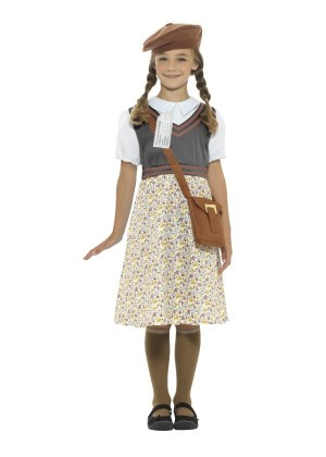 Girls War Time 40s WW2 School Girl Evacuee Fancy Dress Costume World Book Kids Party