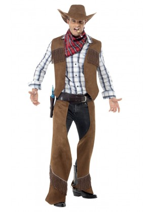 Adult Male Fringe Cowboy Rodeo Western Smiffys Fancy Dress Mens Costume