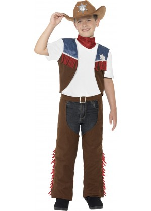 Kids Texan Cowboy Rodeo Wild West Western Sheriff Fancy Dress Up Boys Costume Fringed Chaps Waistcoat