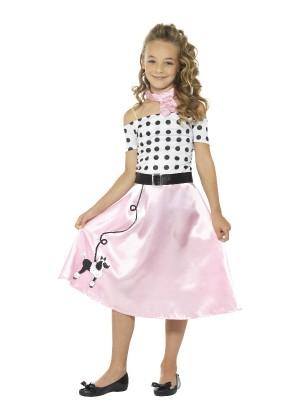 Girls 50s Poodle Kids Costume Rock n Roll Fancy Dress Jive Retro Outfit