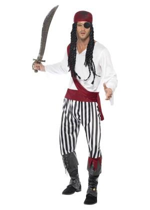 Mens Adult Carribbean Pirate Man Halloween Buccaneer Swashbuckler Fancy Dress Costume Cosplay
