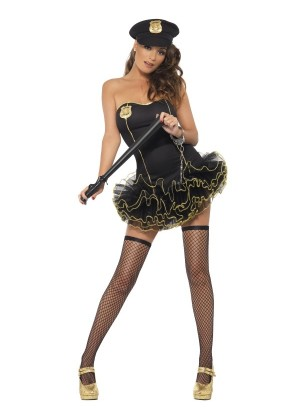 Fever Tutu Police Officer Lady Uniform Cops & Robbers Woman Dress Costume Hat Outfit