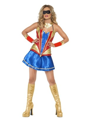 Fever Hero Hottie Wonderwoman Woman Dress Super Bodice Fancy Dress Super Costume