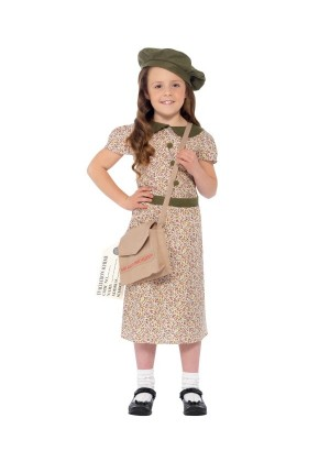 Kids Girls War Time 40s Historical WW2 Evacuee School Girl Fancy Dress Costume Book Week